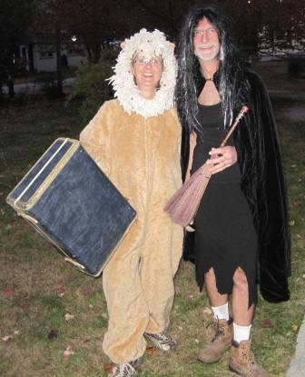 """the lion the witch, and the wardrobe"" dressed for Halloween. Family fun is dressing up, not necessarily all about the candy. Halloween can be fun without a plethora of candy. With the rate of diabetes skyrocketing in the USA, we must watch what we eat. Halloween is once a year. Let them pig out."